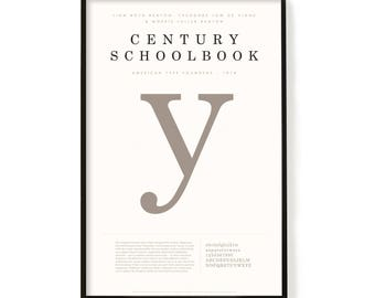 "Century Schoolbook Poster, Screen Printed, Archival Quality, Wall Art, Poster, Designer Gift, Typography Print, 24"" x 36"""