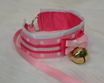 DDLG/BDSM/Kitten Play Pink Collar with White Polka Dots