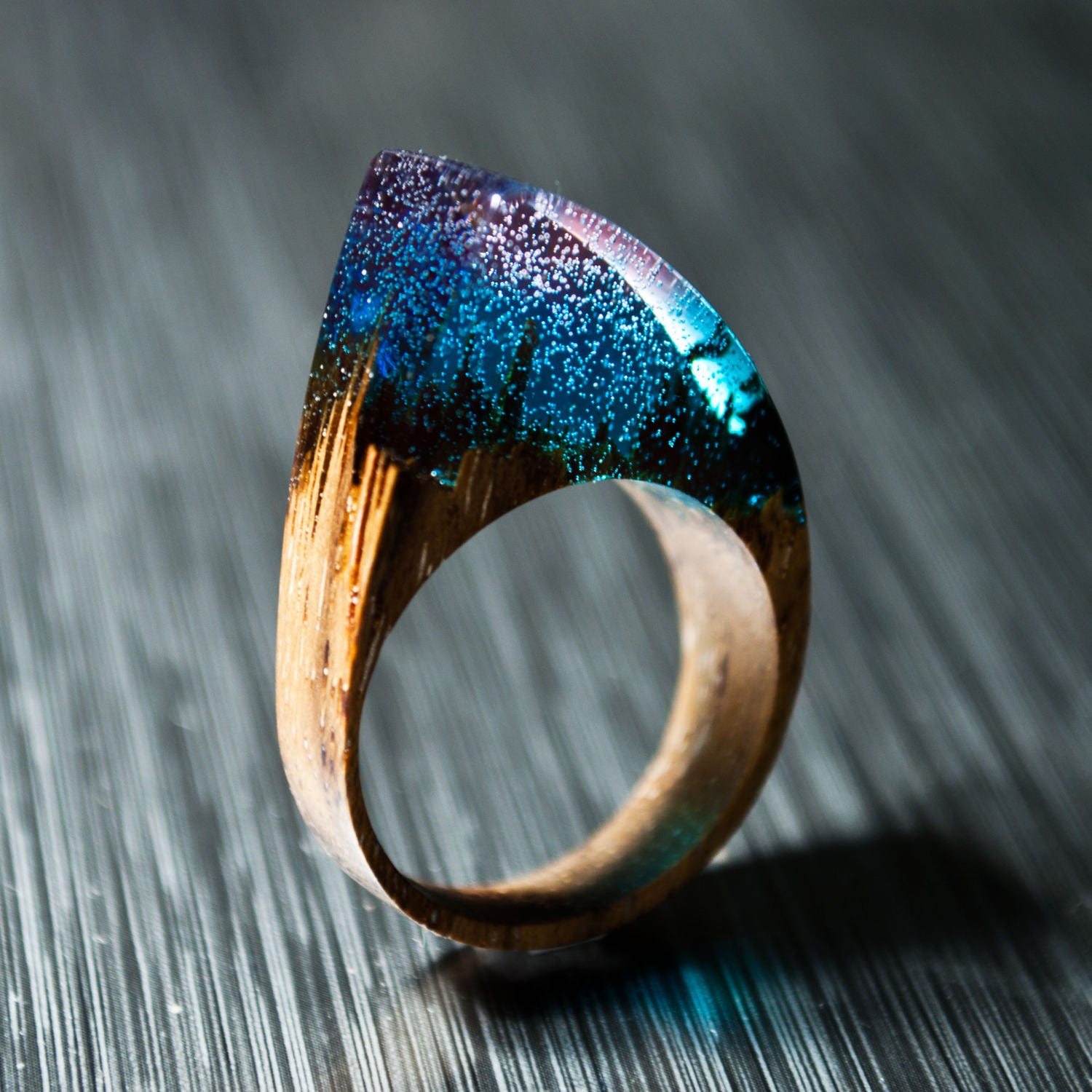 Gift for woman gift for her resin ring wood ring statement for How to make a wooden ring