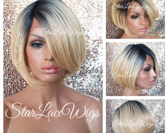 Short Straight Blonde Lace Front Wig - Human Hair Blend - Bob Wig - Dark Roots - Swiss Lace - Heat Resistant Safe