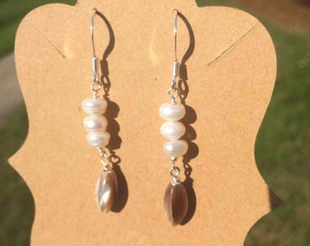 Silver Earrings with Natural Shell and Small Freshwater Pearls