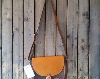Cross Body Brown canvas and Tan/Brown Leather bag.
