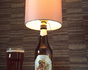 Hobgoblin Gold Beer Bottle Lamp With Gold Shade Upcycled