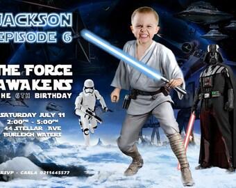 Turn your kid into a Jedi!  Luke Skywalker Darth Vader Star Wars Invitation, Star Wars Birthday Invitation. Clone wars, Star wars party
