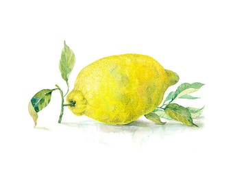 Printable Watercolour Art, Lemon with leaves, Digital Download, Wall Art, Kitchen Art, Home Decor, Fruits Art