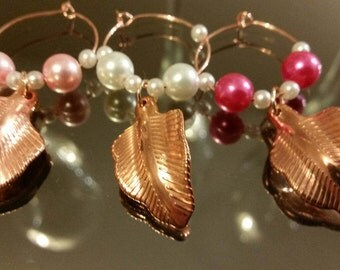 Be on Trend with these Individual Rose Gold Leaf Twist Wine, Champagne, Cocktail Glass Charms, Wedding Favours, Birthday Gifts, New Home