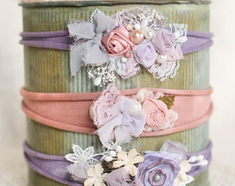 newborn headband/ baby headband/ purple and pink baby headband/ purple and pink flower headbands/ newborn photo prop