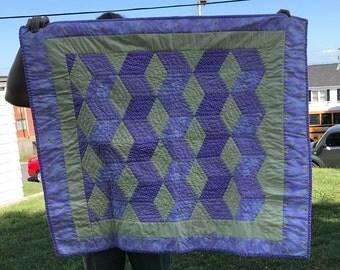 Handmade Purple & Yellow Geometric Baby Quilt