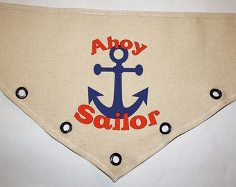 Unique grommet accent Canvas dog pet BANDANA Ahoy Sailor Navy military nautical red blue tie-front or over the collar! S M L XL