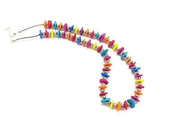 Rainbow necklace, Rainbow beaded necklace, Colorful necklace, Beaded necklace, Polymer clay necklace, Long necklace, Handmade necklace
