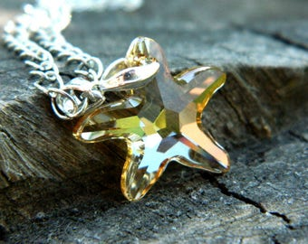 Gold star choker|necklace beach jewelry gift|for|her boho choker sea star necklace yellow rustic romantic jewelry for girlfriend gift summer