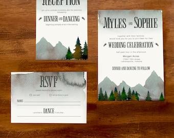 Rustic, Mountain Wedding Stationery