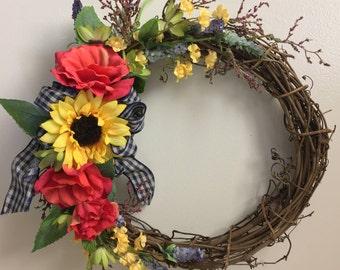 Country Wreath, Fall Wreath, Summer Wreath, Front Door Wreath, Floral Wreath