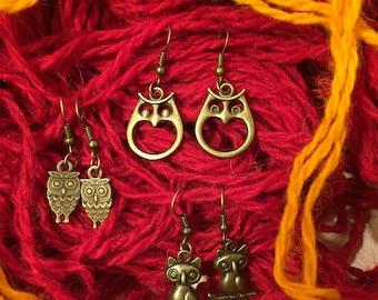 Owl Dangle & drop earrings ,Unique style,Bronz Owl