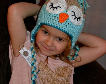 Crochet Sleepy Owl Hat ~ Girl & Boy Crochet Owl Hat ~  Owl Baby Photo Prop Hat ~ You Pick Your Colors!