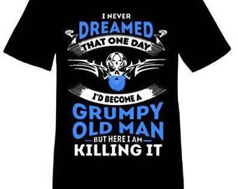 Grumpy Old Man-Iron on Decal
