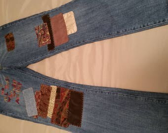 Upcycled patchwork jeans