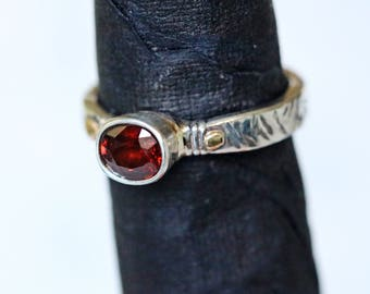 engagement ring solitaire ring dress ring statement ring zircone ring silver and gold ring red stone ring gold and silver ring Zir2