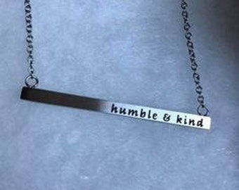 Silver bar necklace. Personalized to your liking. Phrase, or name.