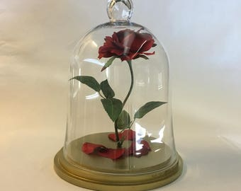 Beauty and the Beast Rose, Enchanted Rose, Rose in Glass Cloche Bell Jar, Gold Base - 13""