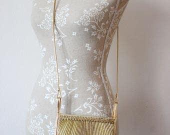 Vintage bag gold toned textil bag gold lurex lined with velvet faux leather handle 1980 VEGAN bag