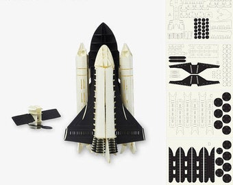 Space shuttle (black + white + brown)