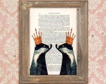 Royal Badgers , badgers with crown, badger print, badger artwork, badger art, bithday print, umbrella print, funny badger