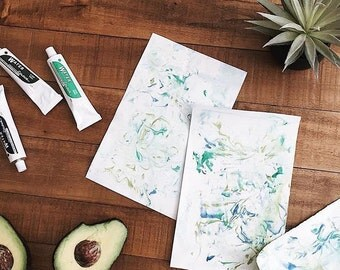 "Blank Blue & Green Hand-Dyed Marbled Cards (5"" x 7"") w Envelopes"
