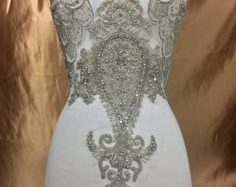 Designer Full body Rhinestone Applique, Beaded Wedding Dress Applique. Swarovski Shine  silver/ #80025