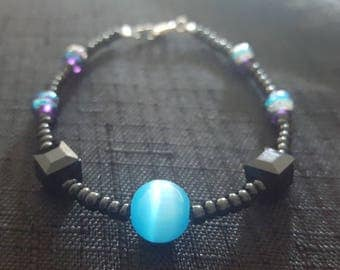 Light Blue Bauble Black Cube Jewels beaded bracelet