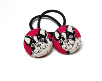Handmade Kawaii Pink White Black Japanese French Bulldogs Animal Children Girl Fabric Button Ponytail Holder Elastic Hair Ties Girly Gifts