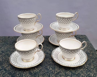 6 Vintage Queen Anne china small cups and saucers