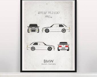 BMW M3 E30 1980s Poster