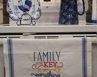 Family is the Key to Everything Embroidered Kitchen Towel
