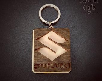 Suzuki Key Chain with logo - Laser Cut Wooden Keychain
