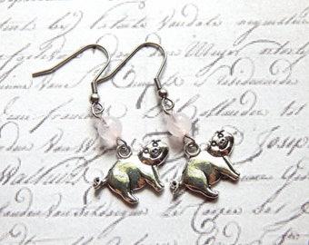 Pig Earrings - Rose Quartz Earrings - Antique Silver Charm Earrings
