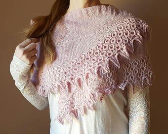 Hand knitted lace shawl,glassbeads,easily wearable,organic wool-silk shawl,pink colour,gentle shawl,interesting construction, wedding shawl,