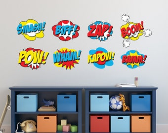 Superhero Wall Decal - Superhero Sayings Comics Decal Smash Biff Zap Boom Pow Fighting Wall Decals - Kids Wall Decal Repositionable Set of 8