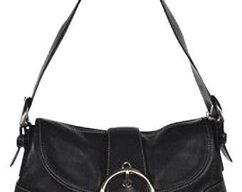 Large Coach Black Soho Leather Hobo Buckle Shoulder Bag
