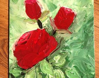 """Rosebush - original oil painting, 7""""x9.5"""""""