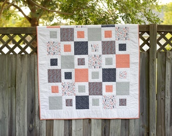 Block in Block throw quilt, Lap Quilt with navy blue, gray and coral colors, flannel backed
