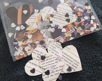 400 Comic book wedding party confetti, rustic table heart confetti, Geek wedding centrepiece paper heart decoration