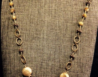Coin Pearl Beaded Necklace