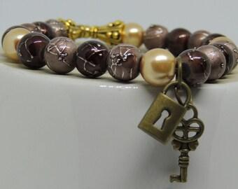 Beaded Stretch Charm Bracelet, Brown, Bronze & Gold, Great Gift for Birthday, Wedding, Anniversary, Shower