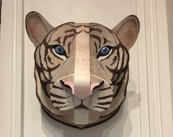 Wooden white tiger head