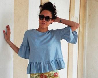 Shirt, shirt, shirt, shirt ruffle frill ruffle sleeve, linen shirt, shirt, blouse shirt, linen shirt
