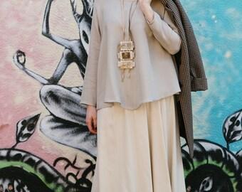 Flared skirt, asymmetrical, with slit front and back side, semi elastic waist Dresses, skirt, large sized