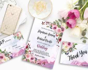 Wedding Invitation Suite Printable Floral Digital Wedding Blush Pink Watercolor Roses Boho Invitation Bohemian Wedding Invite WS-011
