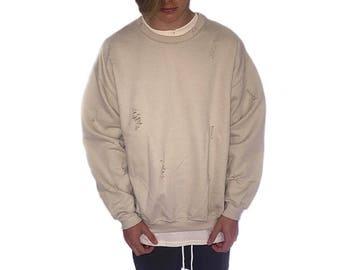 The Distressed Sweatshirt - Desert Sand Beige  / Oversized Vintage Wear / 90's Rock Grunge / Loose Street Compton Fashion Feel / Baggy Fit