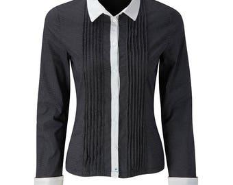 Fever London Womens/Ladies Black White Polka Dot Long Sleeve Shirt Product Code: FEVKIRBLK